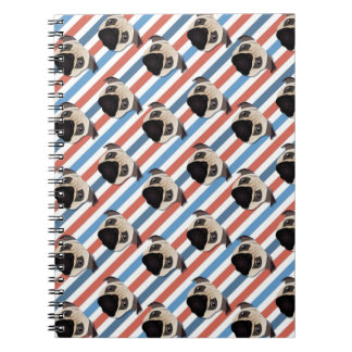 Pugs on Red, White and Blue Diagonal Stripes Spiral Note Books