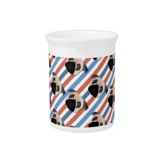Pugs on Red, White and Blue Diagonal Stripes Drink Pitchers