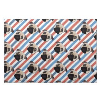 Pugs on Red, White and Blue Diagonal Stripes Placemat