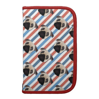 Pugs on Red, White and Blue Diagonal Stripes Planner