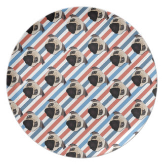 Pugs on Red, White and Blue Diagonal Stripes Dinner Plates