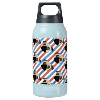 Pugs on Red, White and Blue Diagonal Stripes SIGG Thermo 0.3L Insulated Bottle