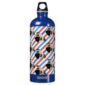 Pugs on Red, White and Blue Diagonal Stripes SIGG Traveler 1.0L Water Bottle
