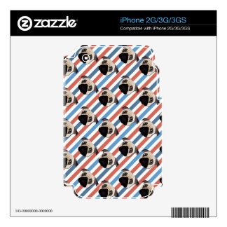 Pugs on Red, White and Blue Diagonal Stripes Skin For The iPhone 3GS