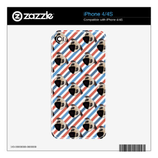 Pugs on Red, White and Blue Diagonal Stripes iPhone 4 Skins