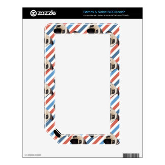 Pugs on Red, White and Blue Diagonal Stripes Decal For The NOOK Color