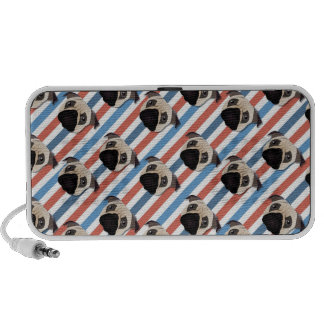Pugs on Red, White and Blue Diagonal Stripes Notebook Speakers