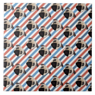 Pugs on Red, White and Blue Diagonal Stripes Tiles