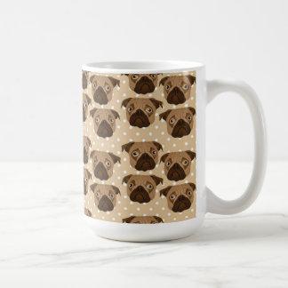 Pugs on Tan Polka Dots Classic White Coffee Mug