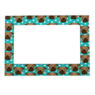 Pugs on Teal and White Hearts Magnetic Photo Frame