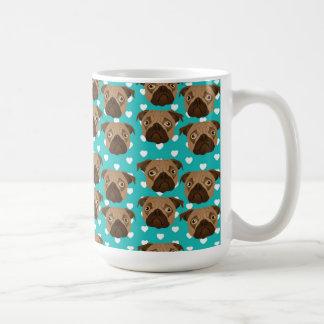 Pugs on Teal and White Hearts Classic White Coffee Mug