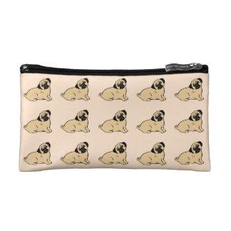 Pugs Pattern Light Cream Cosmetic Accessory Bag
