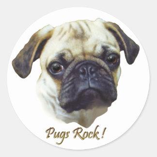 Pugs-Rock Round Sticker