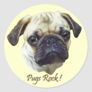 Pugs-Rock Round Stickers