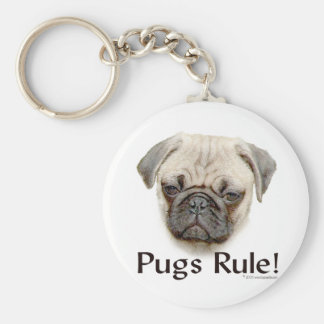 Pugs Rule Basic Round Button Keychain