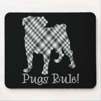 Pugs Rule Black and White Plaid Mouse Pads
