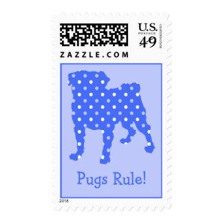 Pugs Rule! Blue Dots Pug Postage Stamps