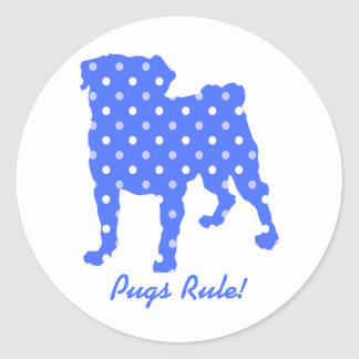 Pugs Rule Polka Dot Pug Stickers - Pug Rescue