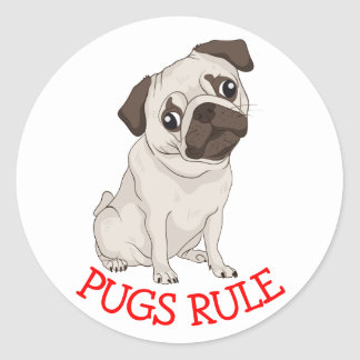 Pugs Rule! Pug Puppy Dog Cartoon Sticker / Seal