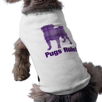 Pugs Rule Purple Plaid T-Shirt