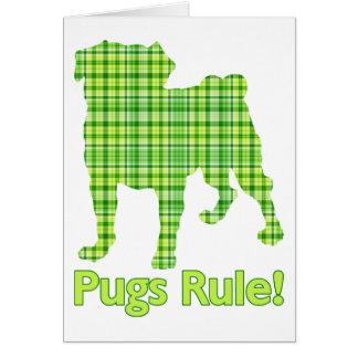 Pugs Rule Spring Green Plaid Tees & Gifts Card