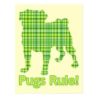 Pugs Rule Spring Green Plaid Tees & Gifts Postcard