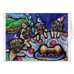 pugs summer birthday party greeting card