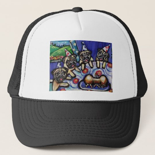 pugs summer birthday party trucker hat