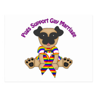 Pugs Support Gay Marriage Tees and Gifts Postcard