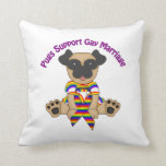 Pugs Support Gay Marriage Throw Pillow