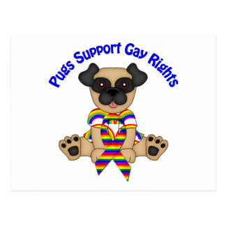 Pugs Support Gay Rights Tees and Gifts Postcard