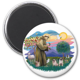 Pugs (two fawn) 2 inch round magnet