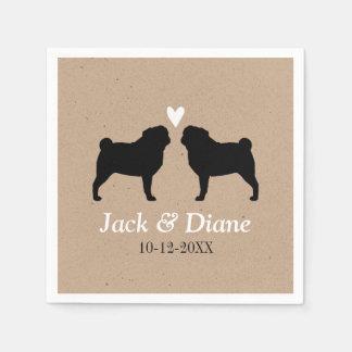 Pugs Wedding Couple with Custom Text Paper Napkin