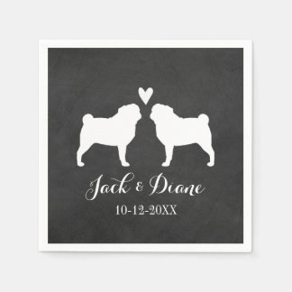 Pugs Wedding Couple with Custom Text Paper Napkin