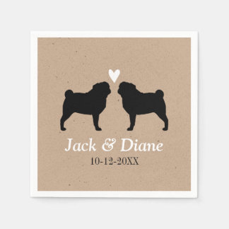 Pugs Wedding Couple with Custom Text Disposable Napkins