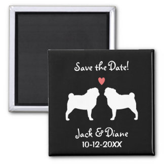 Pugs Wedding Save the Date Magnets
