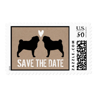Pugs Wedding Save the Date Postage