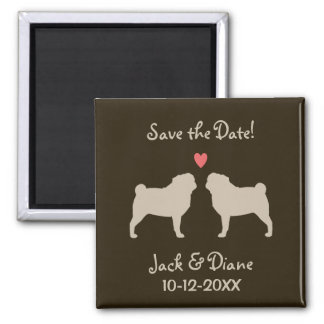 Pugs Wedding Save the Date - Tan on Brown Refrigerator Magnets