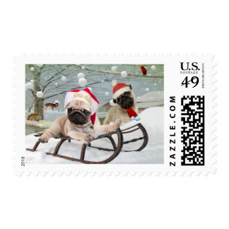 Pugs Winter Fun Postage