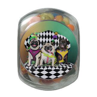Pugsgiving Mardi Gras 2015 - Diamond Darla & Lilly Glass Candy Jars