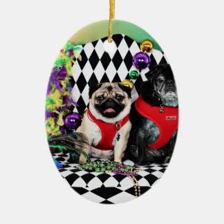 Pugsgiving Mardi Gras 2015 - Dipity & Louie - Pugs Ceramic Ornament