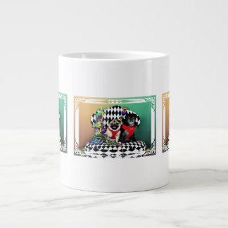 Pugsgiving Mardi Gras 2015 - Dipity & Louie - Pugs Large Coffee Mug