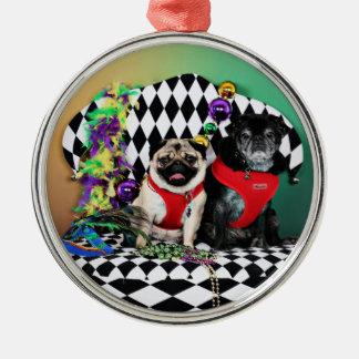 Pugsgiving Mardi Gras 2015 - Dipity & Louie - Pugs Metal Ornament