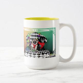 Pugsgiving Mardi Gras 2015 - Dipity & Louie - Pugs Two-Tone Coffee Mug