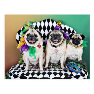 Pugsgiving Mardi Gras 2015 - Hambone Coco Olivia - Postcard