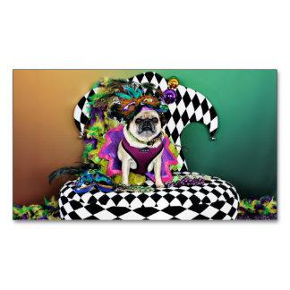 Pugsgiving Mardi Gras 2015 - Lucy - Pug Business Card Magnet