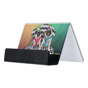 Moose business card holders cases zazzle pugsgiving mardi gras 2015 moose maggie pugs desk business card holder colourmoves