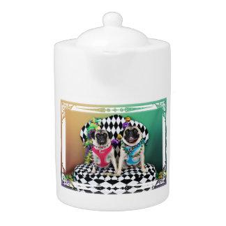 Pugsgiving Mardi Gras 2015 - Moose & Maggie - Pugs Teapot