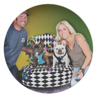 Pugsgiving Mardi Gras 2015 - Tux & Homer - Frenchi Dinner Plate