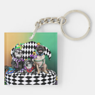 Pugsgiving Mardi Gras 2015 - Wendy Madison Nelson Double-Sided Square Acrylic Keychain